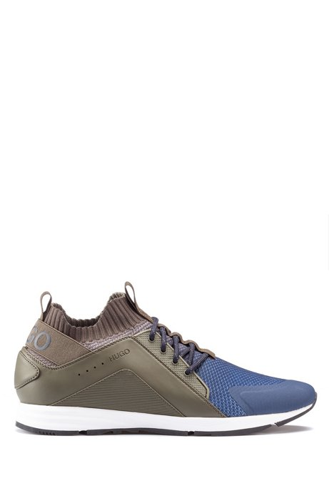 Logo trainers with hybrid uppers and knitted sock, Blue