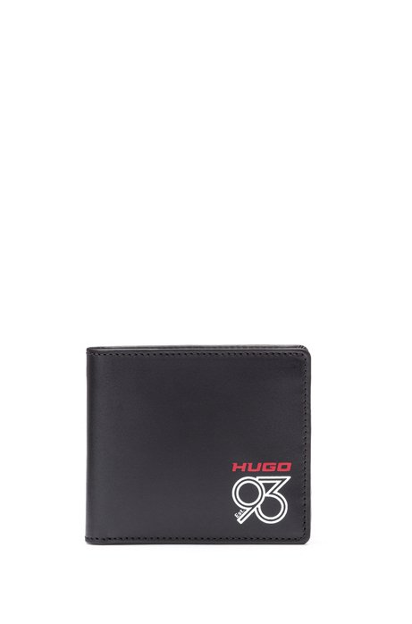 Klapp-Geldbörse aus Leder mit Logo-Print aus der Kollektion, Schwarz
