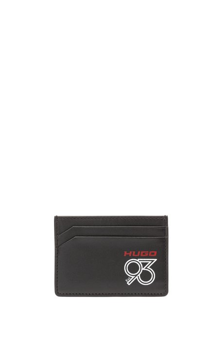 Leather card holder with collection logo print, Black