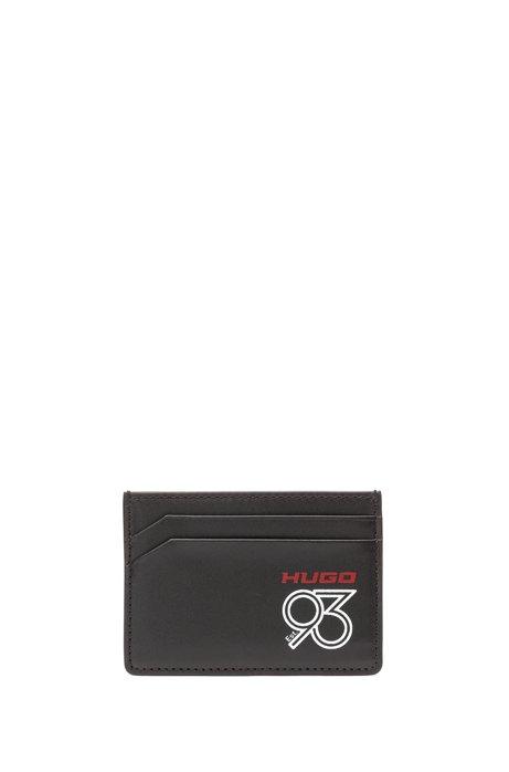 Porte-cartes en cuir italien orné du logo imprimé de la collection, Noir