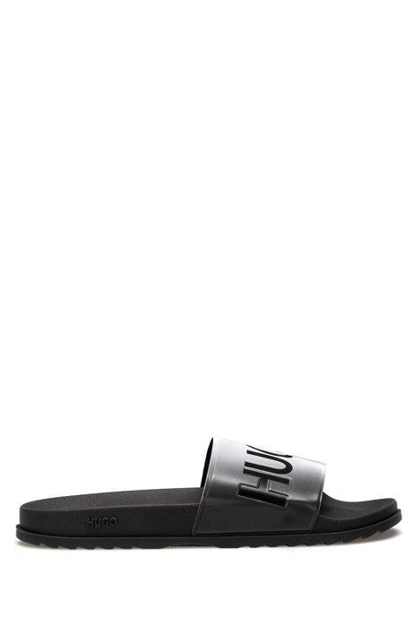 Slippers van rubber met dégradé-effect en logodetails, Zilver
