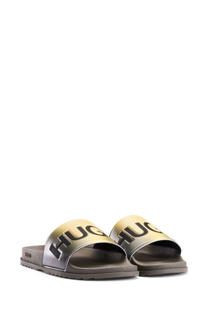 Slippers van rubber met dégradé-effect en logodetails