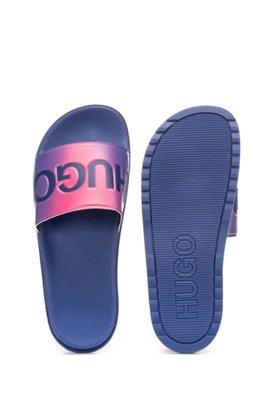 Slippers van rubber met dégradé-effect en logodetails, Pink