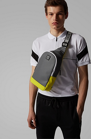 男士撞色镶片微型印花单肩带背包,  030_中灰色