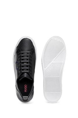 Baskets inspirées des tennis, en tissu revêtu et cuir de veau, Noir