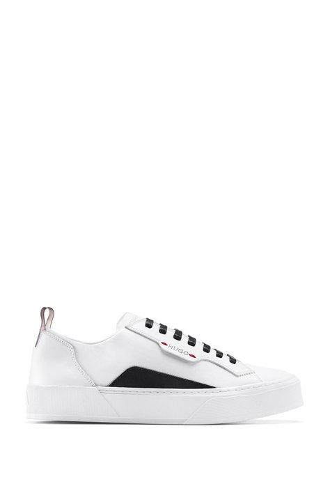 Tennis-inspired trainers in coated fabric and calf leather, White