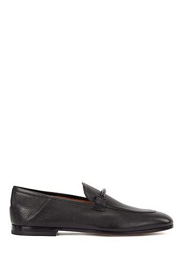 男士意大利制造粒面皮革可折叠鞋跟乐福鞋,  001_黑色