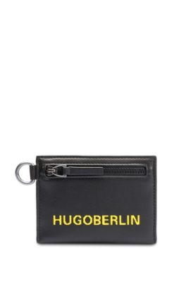 Portemonnee met logoprint en afneembare sleutelhanger, Zwart
