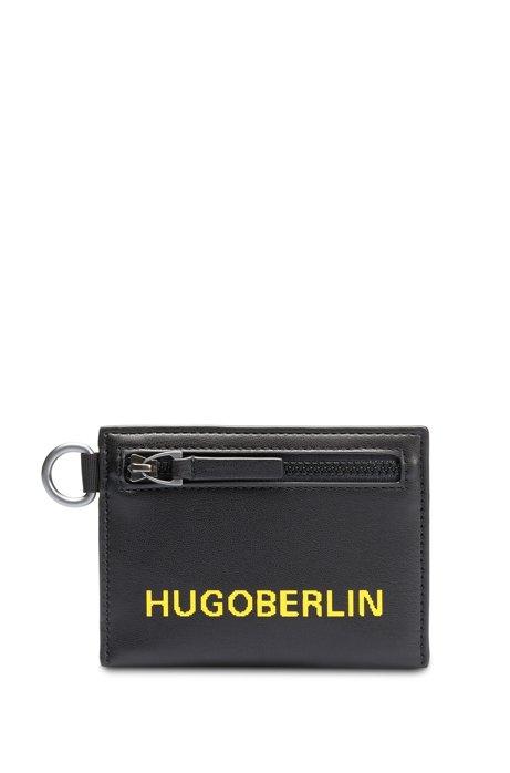 Portafoglio con logo stampato e portachiavi rimovibile, Nero