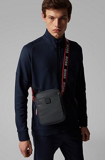 男士微型卵石图案徽标背带记者包,  410_海军蓝色