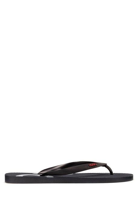 Rubber flip-flops with contrast logos, Dark Blue