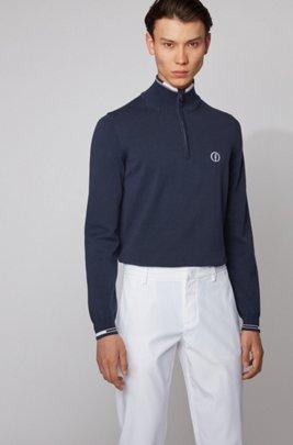 The Open exclusive zip-neck sweater in organic cotton, Dark Blue