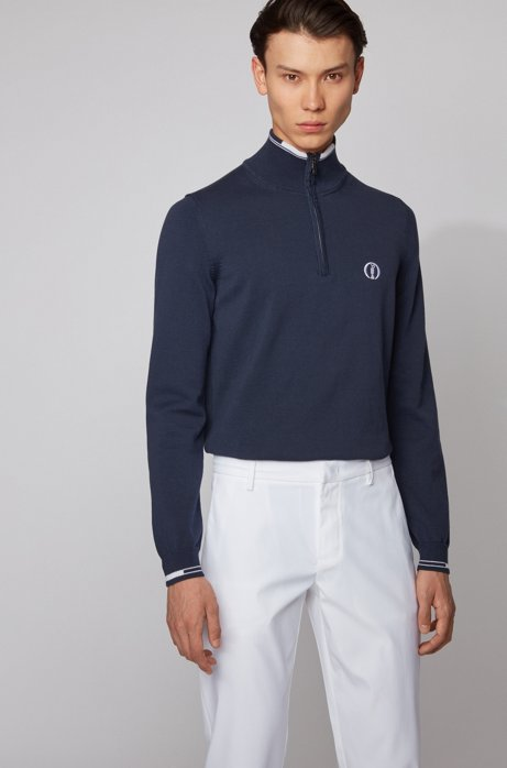 The Open exclusive zip-neck sweater in organic cotton, Dark Blue