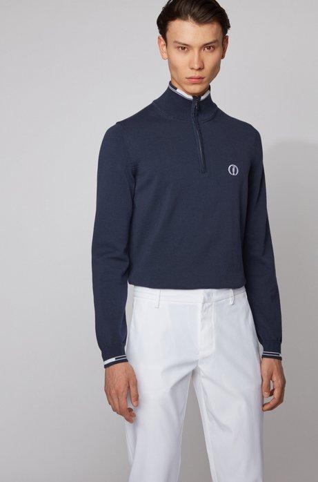 Pull The Open Exclusive en coton biologique à encolure zippée, Bleu foncé