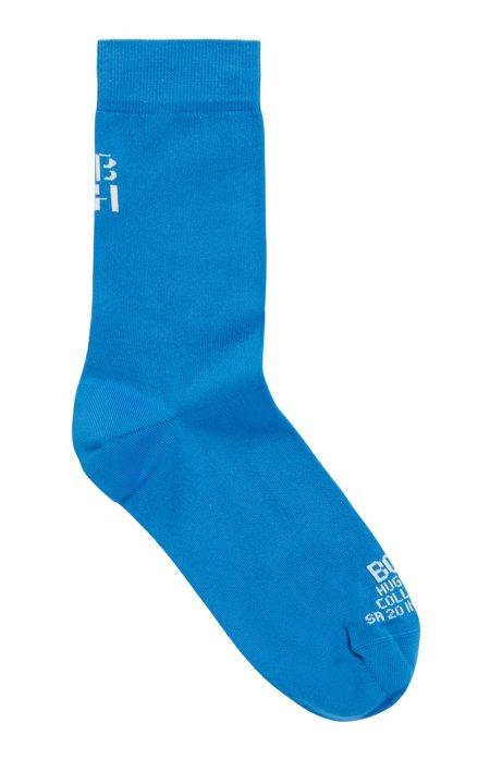Kwartlange sokken met gestileerd monogram , Blauw