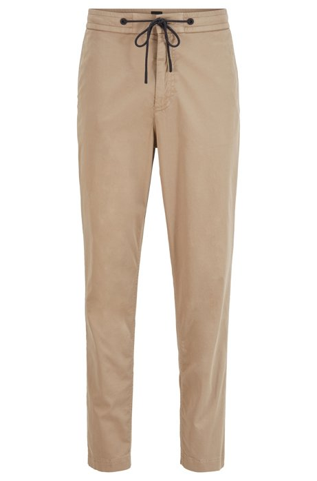 Tapered-fit drawstring trousers in stretch-cotton twill, Beige