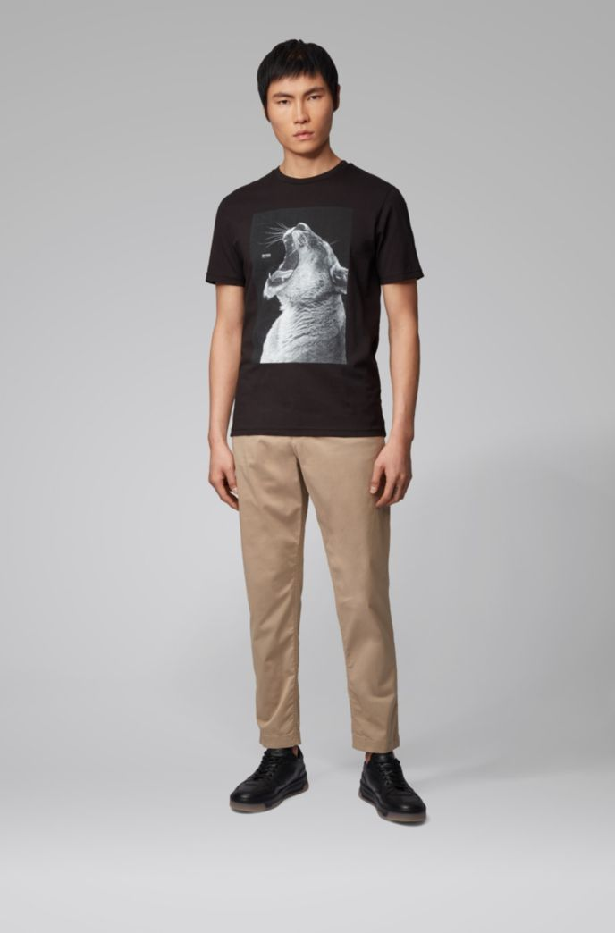 Pantalon Tapered Fit en twill de coton stretch avec cordon de serrage