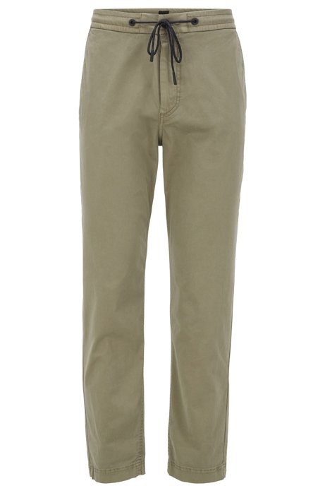 Tapered-fit drawstring trousers in stretch-cotton twill, Green