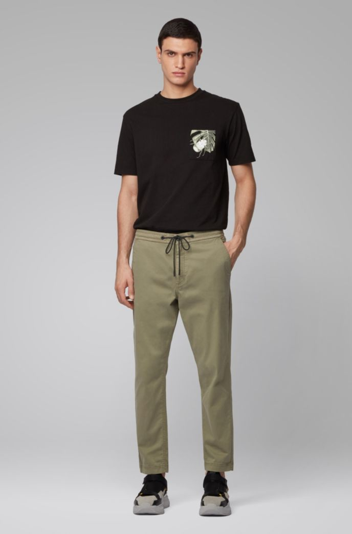 Pantalon Tapered Fit en twill de coton stretch avec cordon de serrage