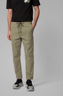 Pantalon Tapered Fit en twill de coton stretch avec cordon de serrage, Vert