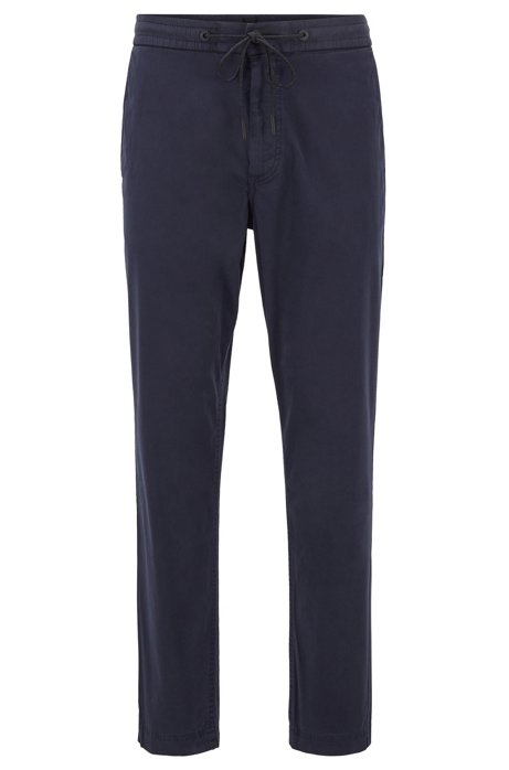 Tapered-Fit Hose aus elastischem Baumwoll-Twill mit Tunnelzugbund, Dunkelblau
