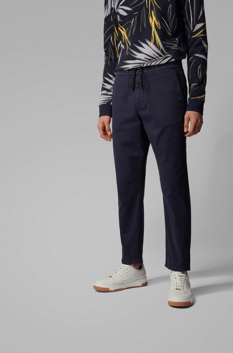 Tapered-fit drawstring trousers in stretch-cotton twill, Dark Blue