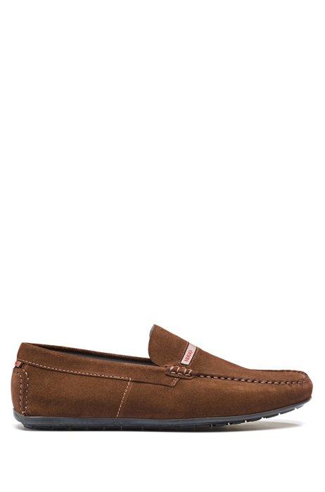 Suede moccasins with logo trim, Dark Brown
