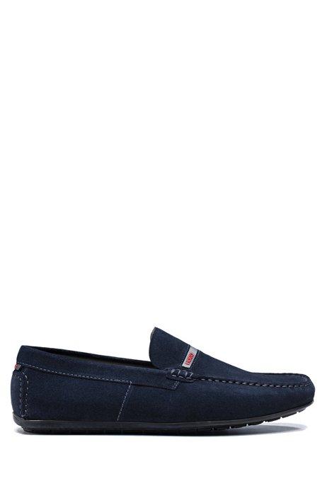 Suede moccasins with logo trim, Dark Blue