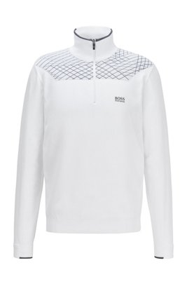 Zip-neck sweater with placement graphic pattern, White