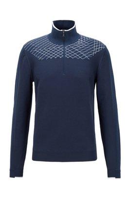 Zip-neck sweater with placement graphic pattern, Dark Blue