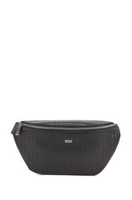 Italian-leather belt bag with lasered monograms, ブラック