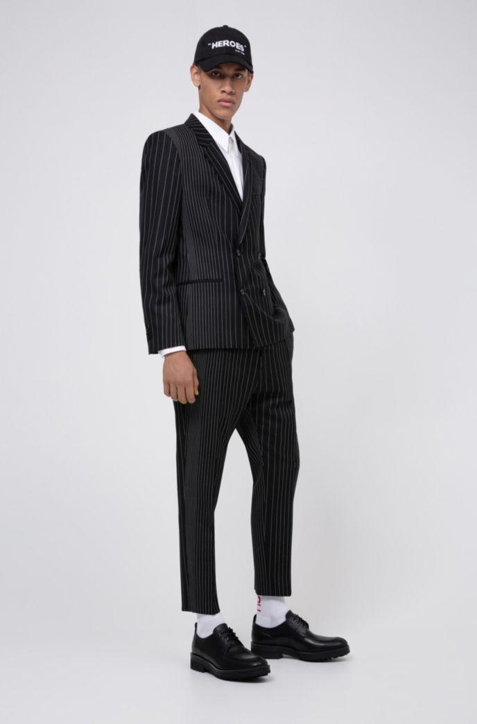 Pantalon en laine vierge Extra Slim Fit, à rayures tennis