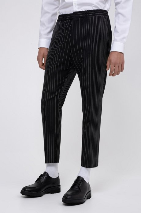 Extra-slim-fit virgin wool trousers with pinstripe, Patterned