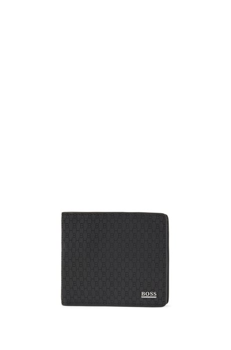 Billfold wallet in Italian leather with lasered monograms, Black