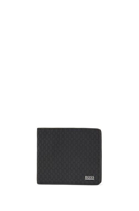 Klapp-Geldbörse aus italienischem Leder mit gelaserten Monogrammen, Schwarz