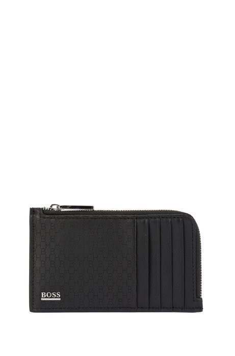 Zipped coin case in Italian leather with lasered monograms, Black