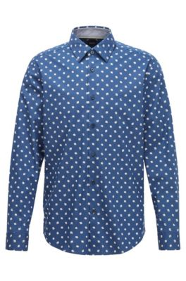 Regular-Fit Hemd mit exklusivem Blumenprint, Dunkelblau