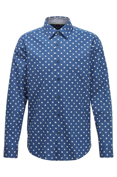 Regular-fit shirt with exclusive floral print, Dark Blue