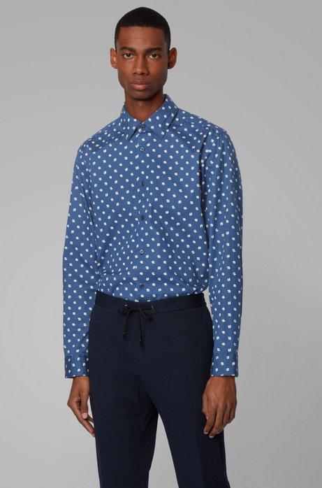 Regular-fit overhemd met exclusieve bloemenprint, Donkerblauw