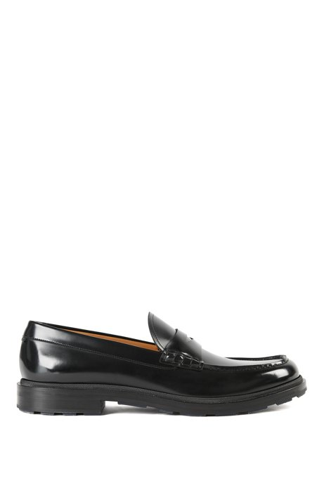 Penny loafers in brush-off leather with coloured details, Black