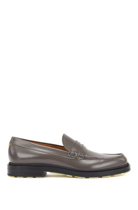 Penny loafers in brush-off leather with coloured details, Grey