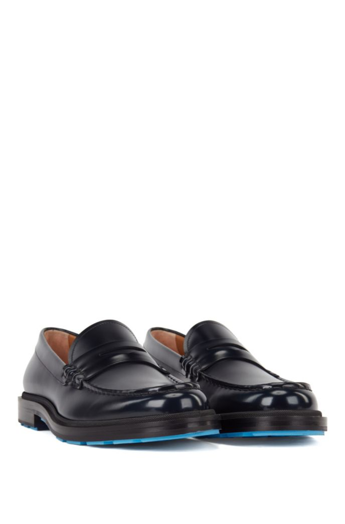 Penny loafers in brush-off leather with coloured details