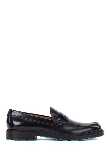 Penny loafers in brush-off leather with coloured details, Dark Blue