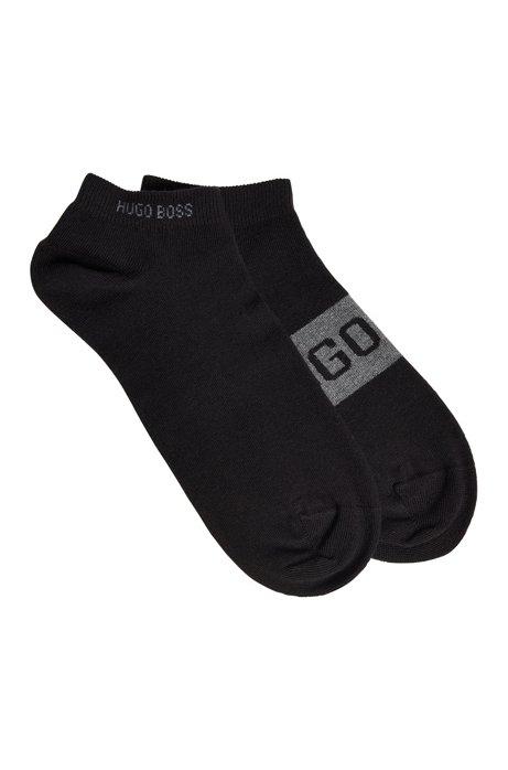 Lot de deux paires de chaussettes basses à logos contrastants, Noir