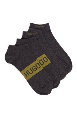 Lot de deux paires de chaussettes basses à logos contrastants, Gris sombre