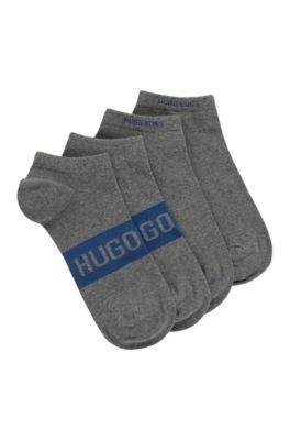 Lot de deux paires de chaussettes basses à logos contrastants, Gris