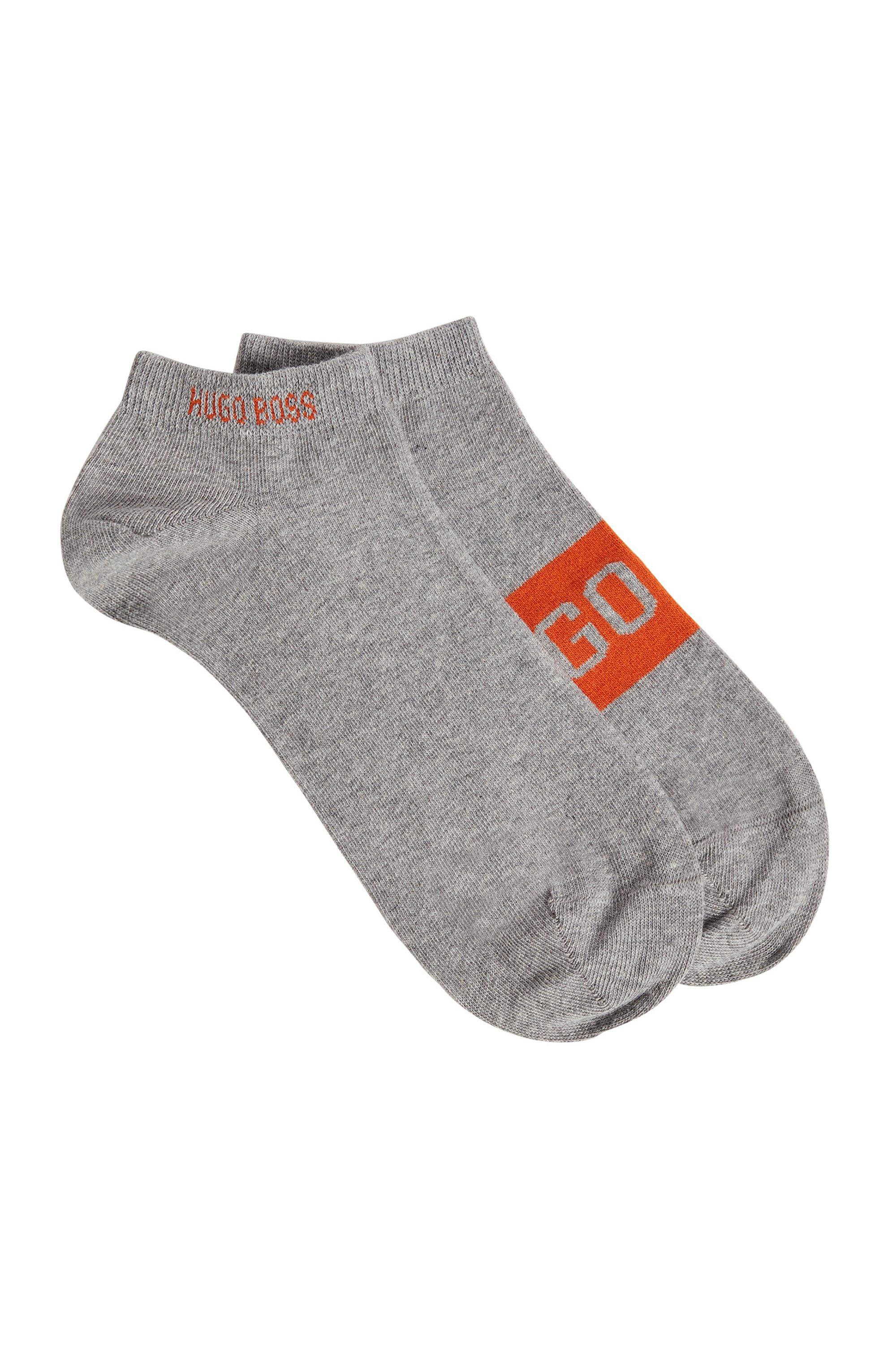 Zweier-Pack Sneakers-Socken mit kontrastfarbenen Logo-Details, Silber