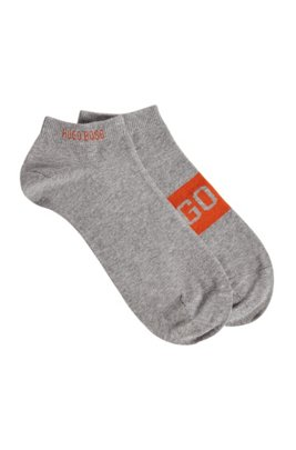 Two-pack of ankle socks with contrast logo details, Silver