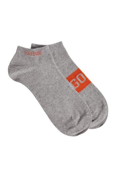 Lot de deux paires de chaussettes basses à logos contrastants, Argent