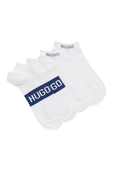 Two-pack of ankle socks with contrast logo details, White